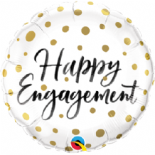 "Happy Engagement Gold Dots Foil Balloon (18"") 1pc"